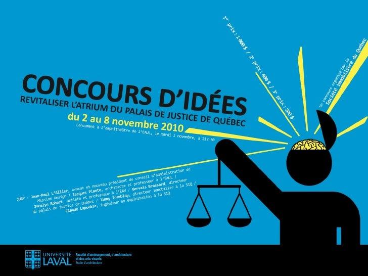 Concours d'idées de la Société Immobilière de Québec Slide 1