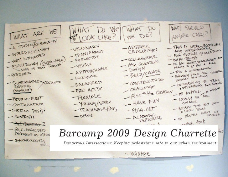 Barcamp 2009 Design Charrette Dangerous Intersections: Keeping pedestrians safe in our urban environment