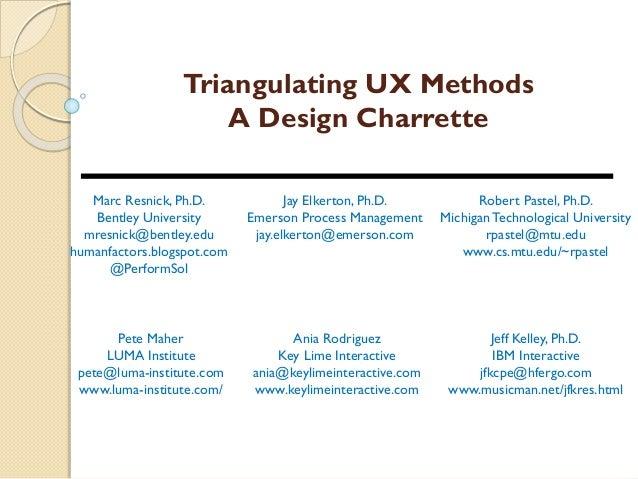Triangulating UX Methods A Design Charrette Marc Resnick, Ph.D. Bentley University mresnick@bentley.edu humanfactors.blogs...