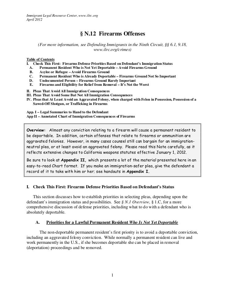 Immigrant Legal Resource Center, www.ilrc.orgApril 2012                                 § N.12 Firearms Offenses       (Fo...