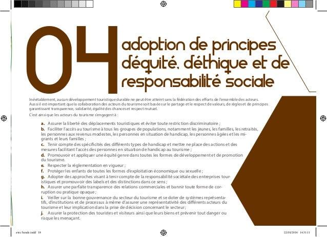 04 adoption de principes d'équité, d'éthique et de responsabilité sociale Inévitablement, aucun développement touristique ...
