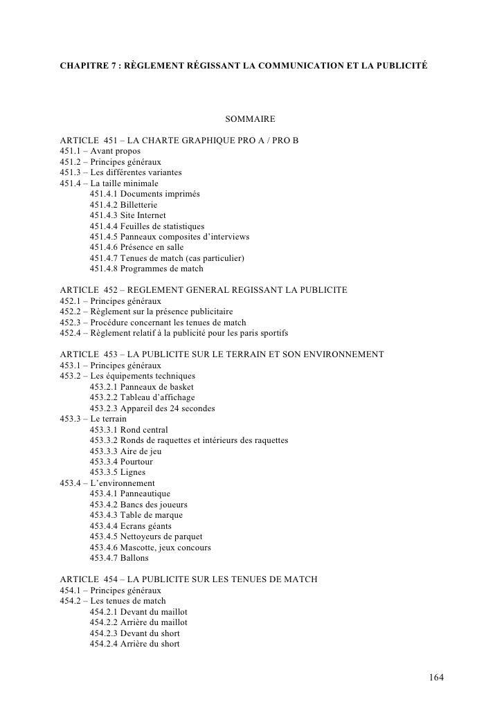 CHAPITRE 7 : RÈGLEMENT RÉGISSANT LA COMMUNICATION ET LA PUBLICITÉ                                         SOMMAIRE  ARTICL...