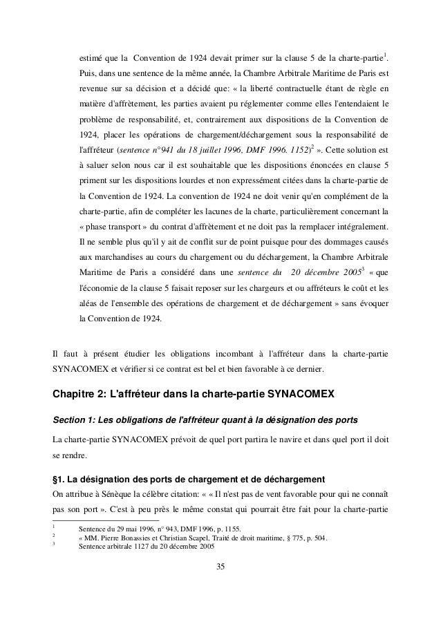 Charte partie synacomex for Chambre arbitrale