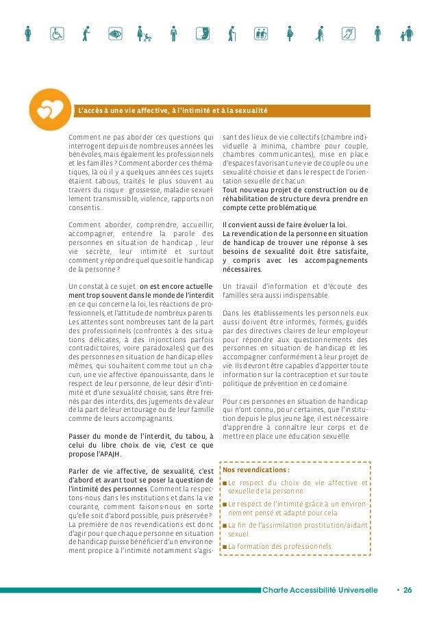 Intimité / Sexualité : L'indispensable formation des accompagnants  Charte Accessibilité Universelle • 28  Un atelier film...