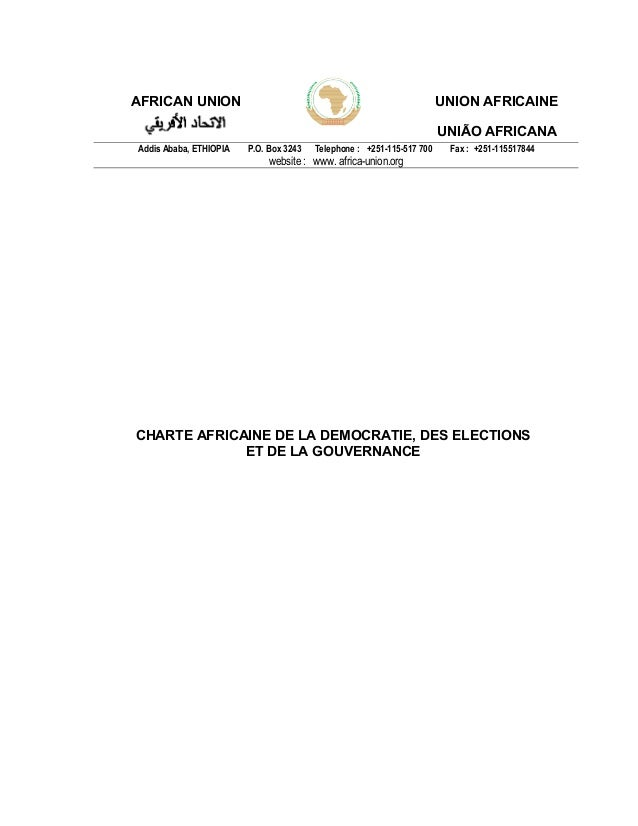 AFRICAN UNION UNION AFRICAINE UNIÃO AFRICANA Addis Ababa, ETHIOPIA P.O. Box 3243 Telephone : +251-115-517 700 Fax : +251-1...