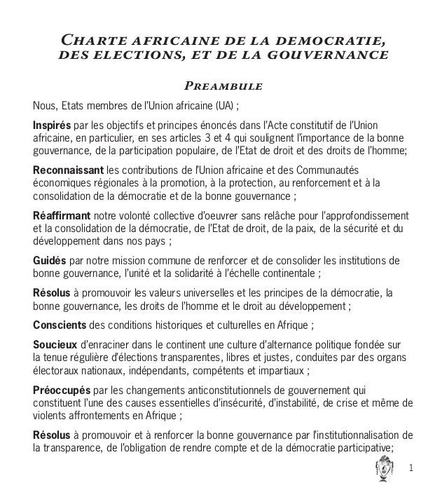 Charte africaine de la democratie, des elections, et de la gouvernance Preambule Nous, Etats membres de l'Union africaine ...