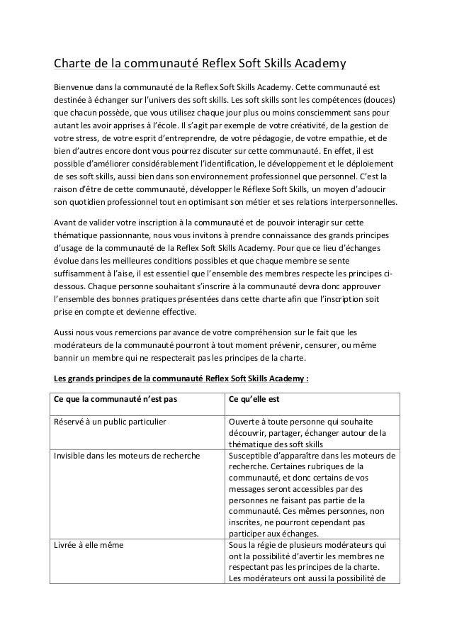Charte  de  la  communauté  Reflex  Soft  Skills  Academy   Bienvenue  dans  la  communauté  de  ...