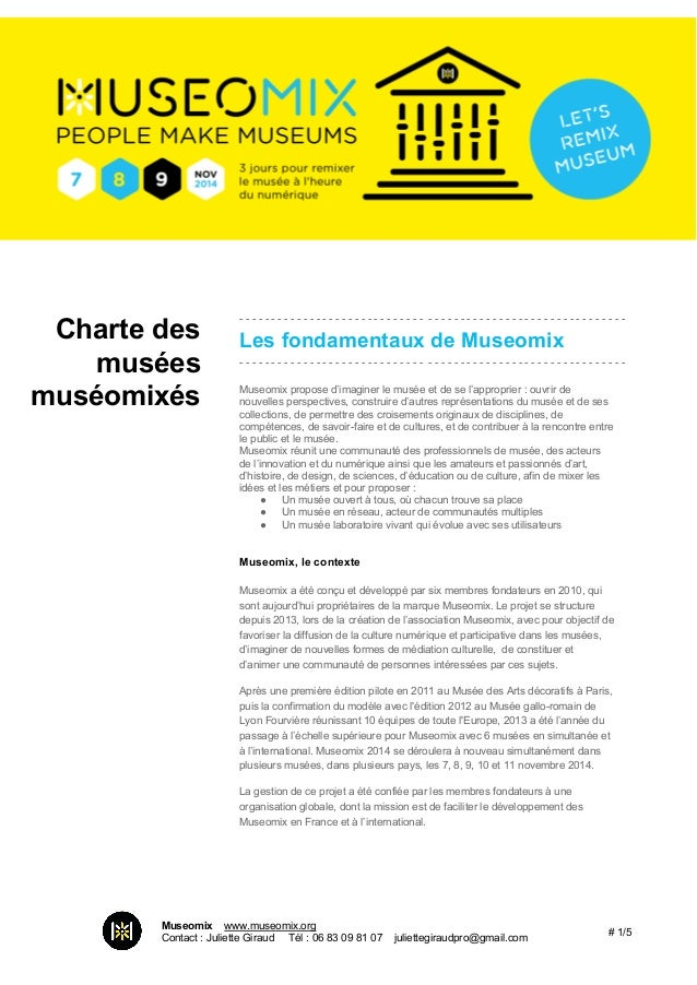 Charte des  musées  muséomixés  Les  fondamentaux de Museomix ...
