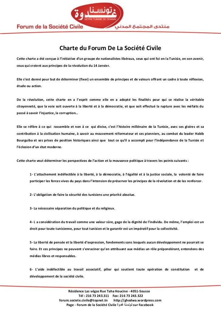 Charte du Forum De La Société CivileCette charte a été conçue à l'initiative d'un groupe de nationalistes libéraux, ceux q...