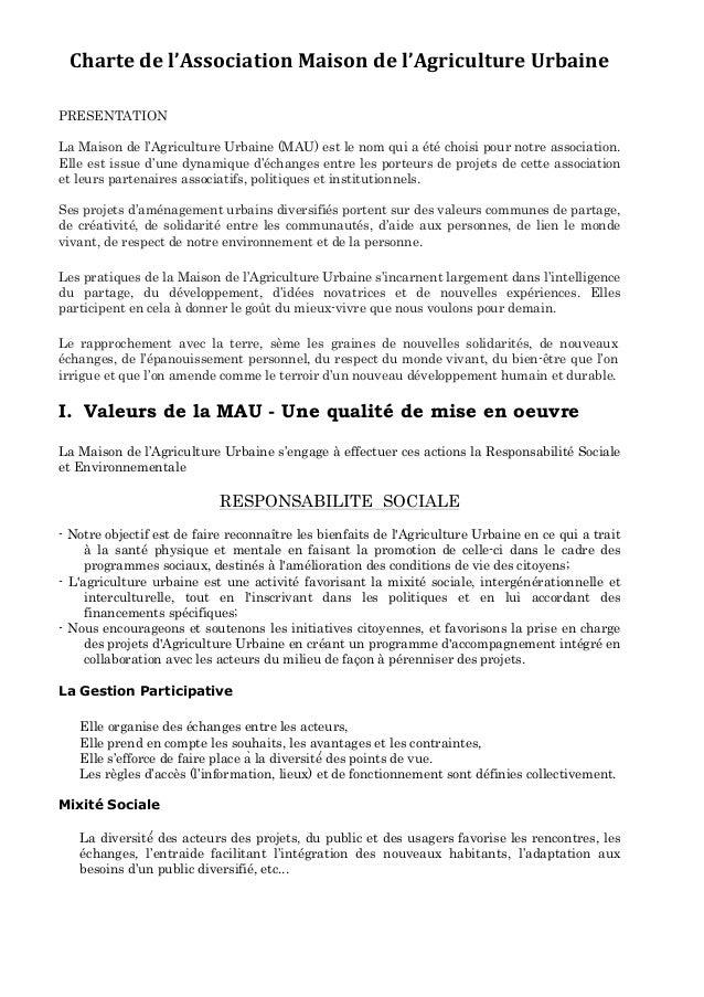 Charte  de  l'Association  Maison  de  l'Agriculture  Urbaine   PRESENTATION La Maison de l'Agriculture Urba...