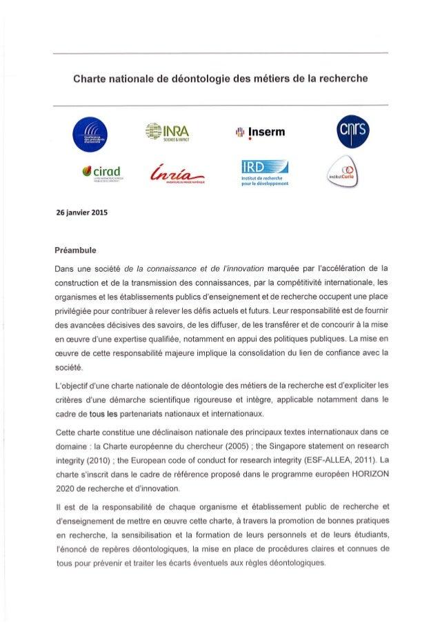 Charte nationale déontologie des métiers de la recherche (janvier 2015)