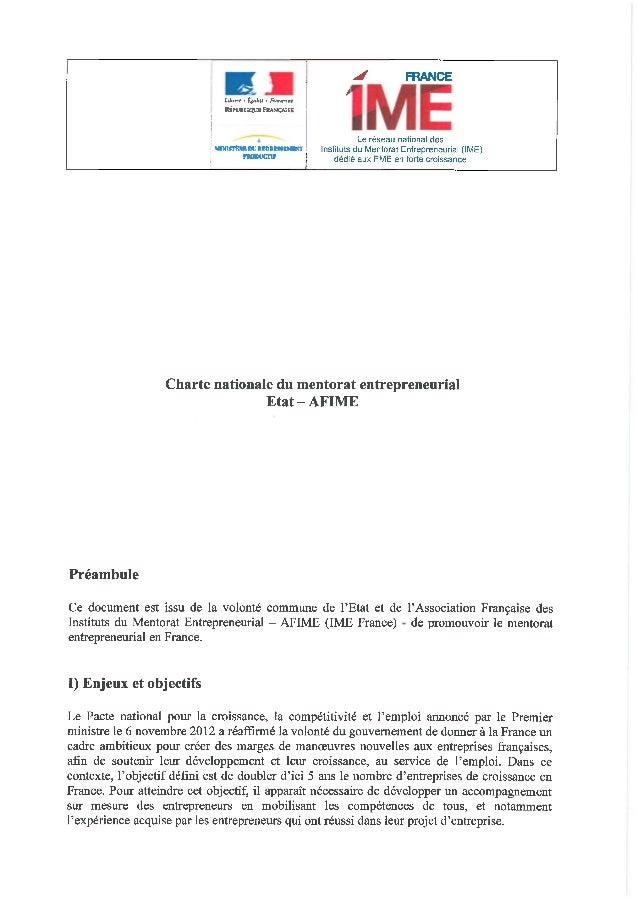 Charte nationale du mentorat entrepreneurial