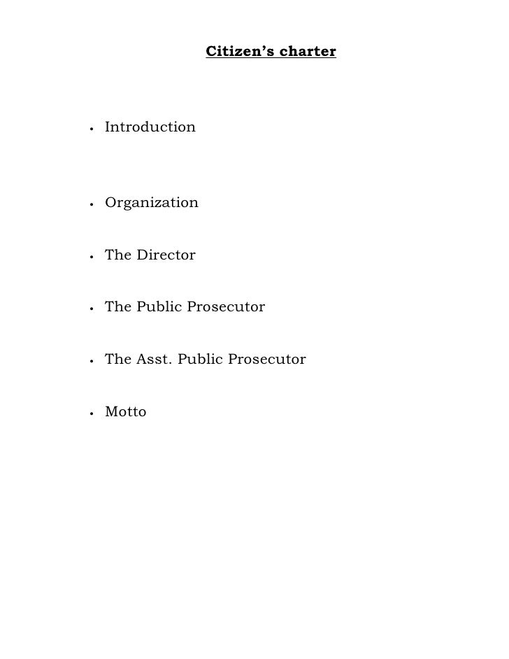 Citizen's charter     •   Introduction     •   Organization   •   The Director   •   The Public Prosecutor   •   The Asst....