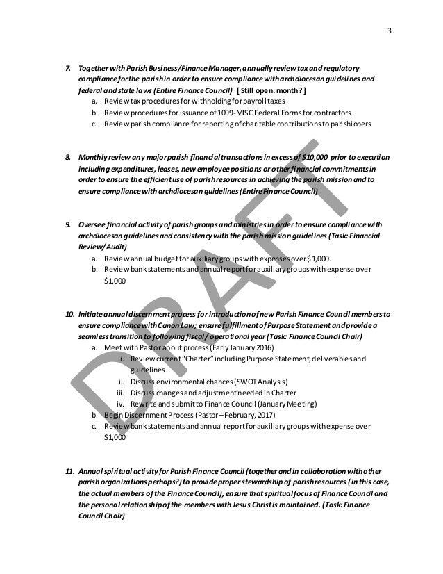 Parish FINANCE Council Charter - 2016 Slide 3