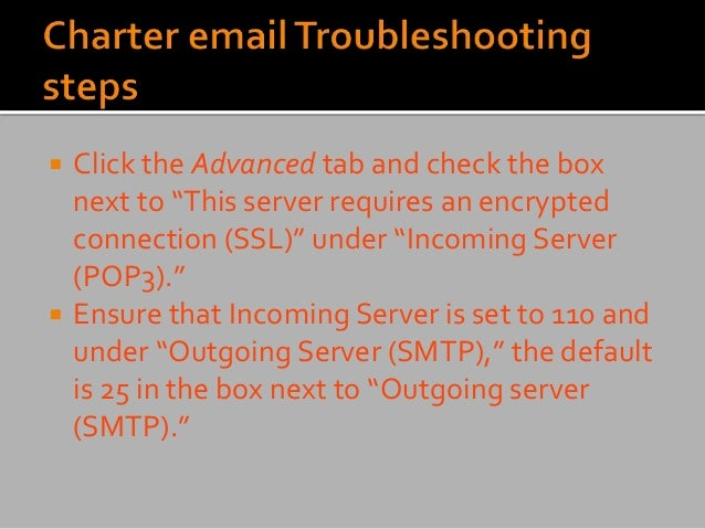 """ Click the Advanced tab and check the box next to """"This server requires an encrypted connection (SSL)"""" under """"Incoming Se..."""