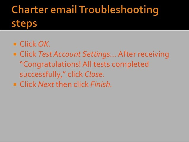 """ Click OK.  Click Test Account Settings… After receiving """"Congratulations! All tests completed successfully,"""" click Clos..."""