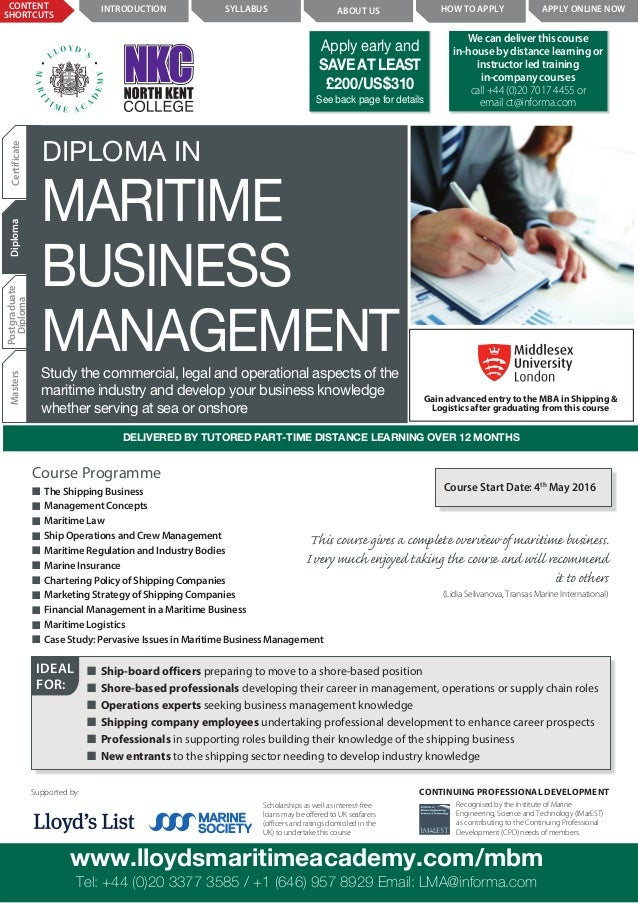 diploma in maritime business management by lloyds maritime