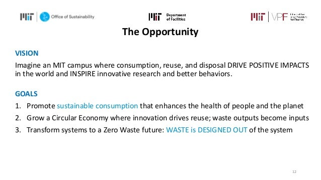 VISION Imagine an MIT campus where consumption, reuse, and disposal DRIVE POSITIVE IMPACTS in the world and INSPIRE innova...