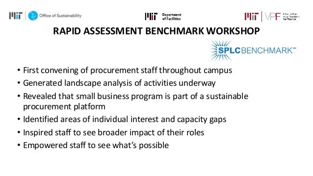RAPID ASSESSMENT BENCHMARK WORKSHOP • First convening of procurement staff throughout campus • Generated landscape analysi...