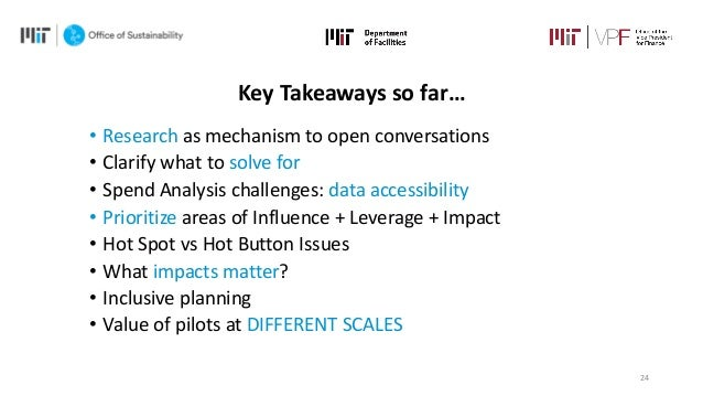 24 Key Takeaways so far… • Research as mechanism to open conversations • Clarify what to solve for • Spend Analysis challe...