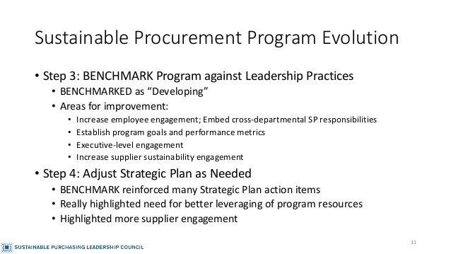 "Sustainable Procurement Program Evolution • Step 3: BENCHMARK Program against Leadership Practices • BENCHMARKED as ""Devel..."