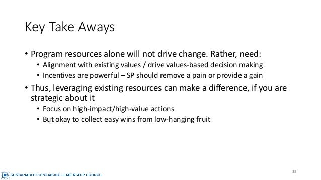 Key Take Aways • Program resources alone will not drive change. Rather, need: • Alignment with existing values / drive val...