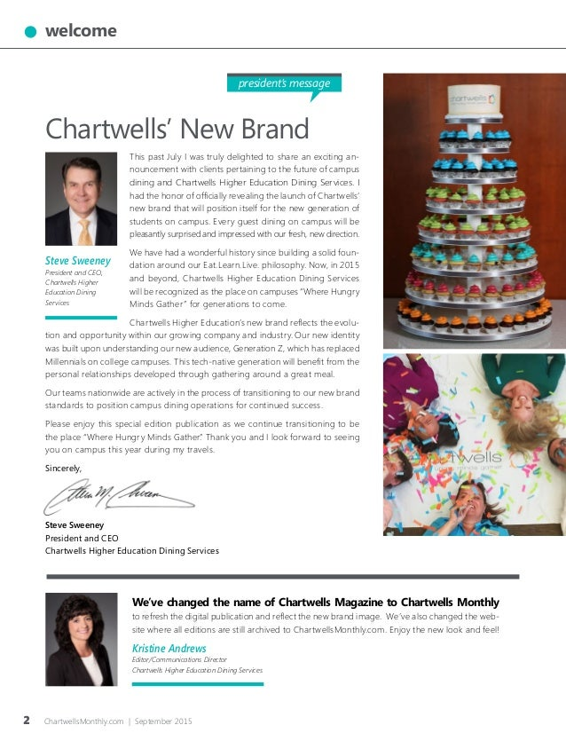 Patti Girardi Portfolio: Chartwells Monthly Brand Launch Issue