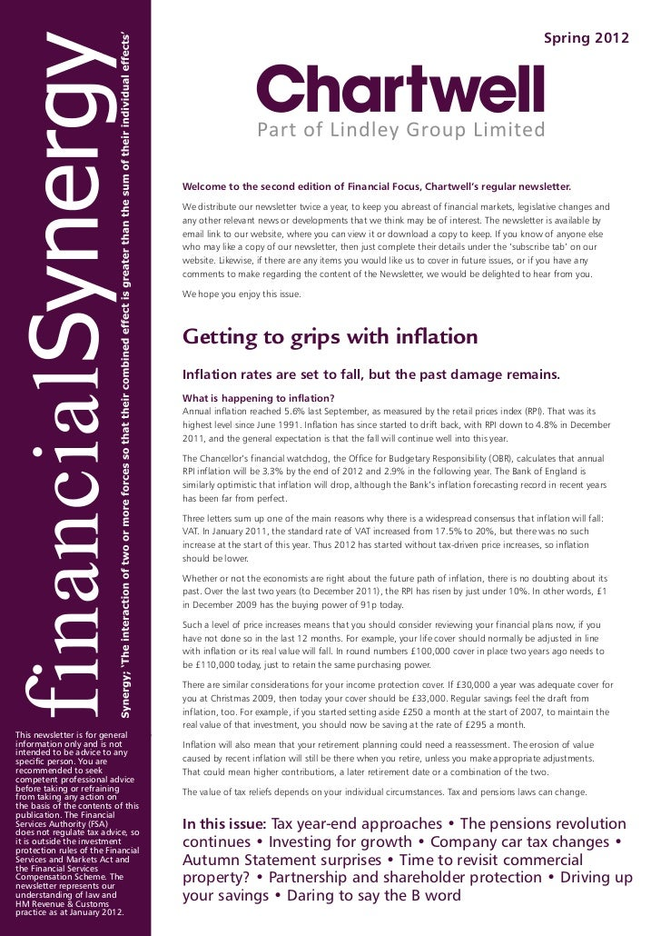 Spring 2012                                    Welcome to the second edition of Financial Focus, Chartwell's regular newsl...