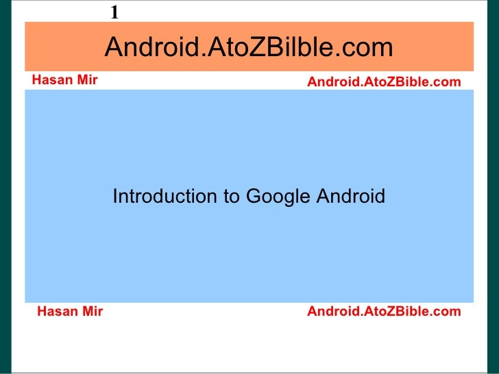 Android.AtoZBilble.com Introduction to Google Android