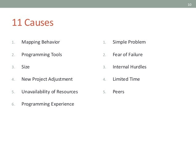 10 11 Causes 1. Mapping Behavior 2. Programming Tools 3. Size 4. New Project Adjustment 5. Unavailability of Resources 6. ...