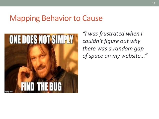 """11 Mapping Behavior to Cause """"I was frustrated when I couldn't figure out why there was a random gap of space on my websit..."""