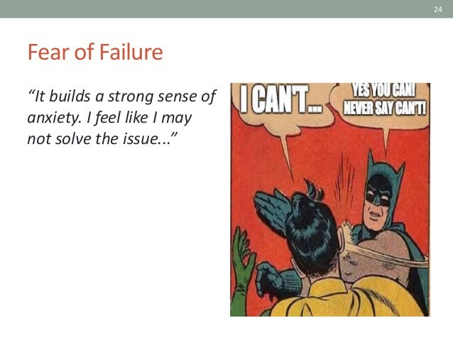 """24 Fear of Failure """"It builds a strong sense of anxiety. I feel like I may not solve the issue..."""""""