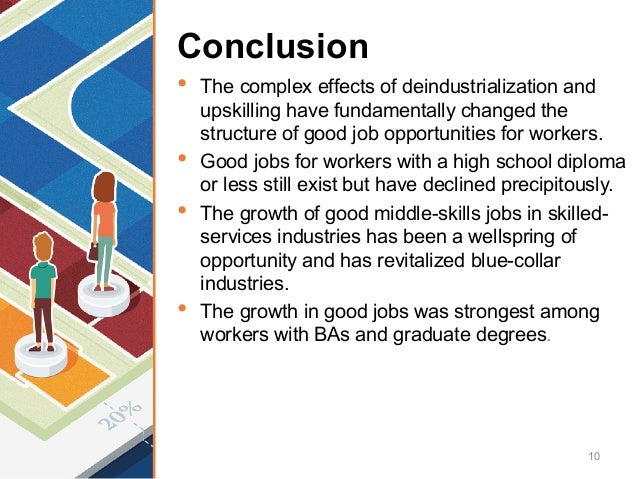 Conclusion • The complex effects of deindustrialization and upskilling have fundamentally changed the structure of good jo...