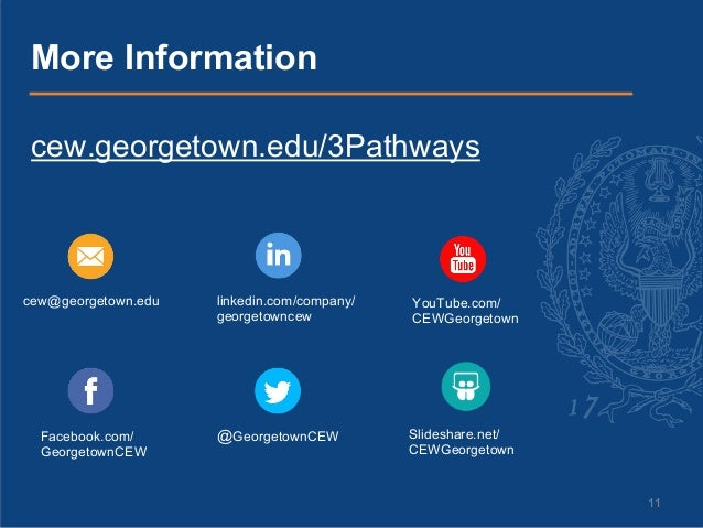 11 cew.georgetown.edu/3Pathways More Information cew@georgetown.edu Facebook.com/ GeorgetownCEW linkedin.com/company/ geor...