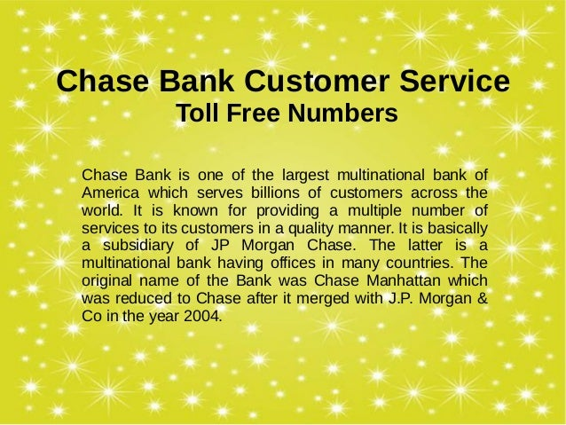 chase bank toll free number customer service