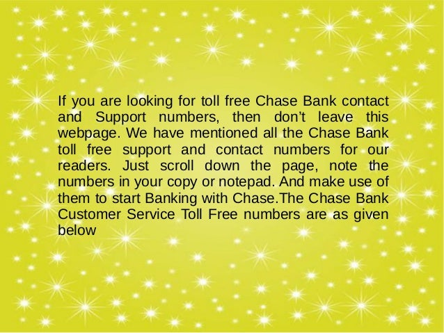 chase bank contact number