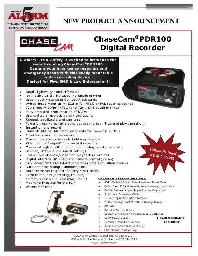 NEW PRODUCT ANNOUNCEMENT                                                 ChaseCam®PDR100                                  ...