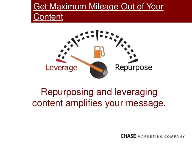 Get Maximum Mileage Out of Your Content Repurposing and leveraging content amplifies your message.