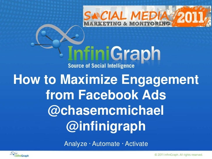 How to Maximize Engagement from Facebook Ads<br />@chasemcmichael<br />@infinigraph<br />Analyze · Automate · Activate<br />