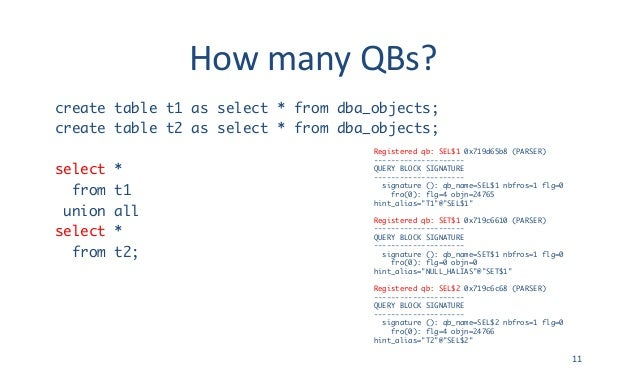 HowmanyQBs? create table t1 as select * from dba_objects; create table t2 as select * from dba_objects; select * from t1...