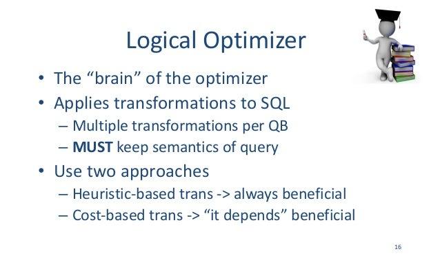 "LogicalOptimizer • The""brain""oftheoptimizer • AppliestransformationstoSQL – MultipletransformationsperQB – MUST..."