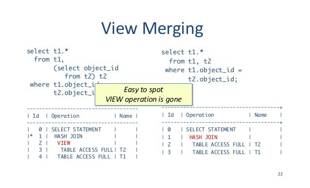 ViewMerging select t1.* from t1, (select object_id from t2) t2 where t1.object_id = t2.object_id; -----------------------...