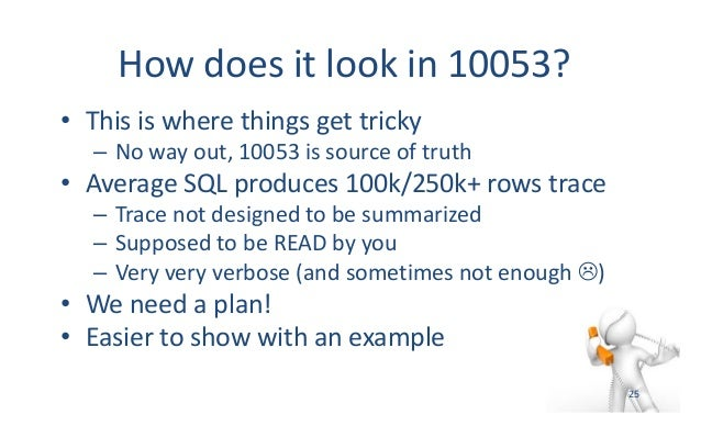 Howdoesitlookin10053? • Thisiswherethingsgettricky – Nowayout,10053issourceoftruth • AverageSQLproduces...