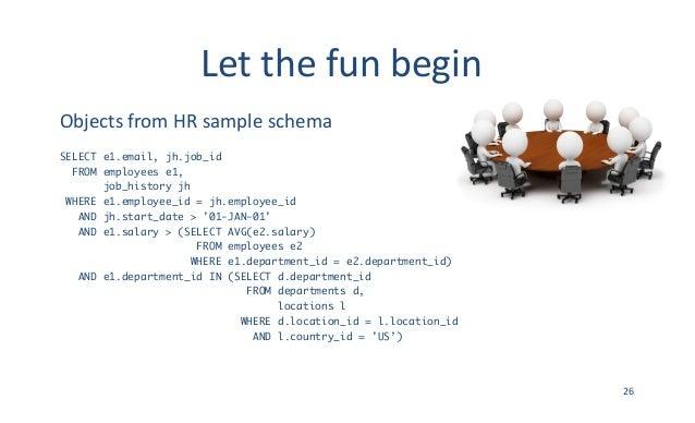 Letthefunbegin ObjectsfromHRsampleschema SELECT e1.email, jh.job_id FROM employees e1, job_history jh WHERE e1.empl...