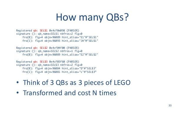 HowmanyQBs? Registered qb: SEL$1 0x4cf0e098 (PARSER) signature (): qb_name=SEL$1 nbfros=2 flg=0 fro(0): flg=4 objn=96089...