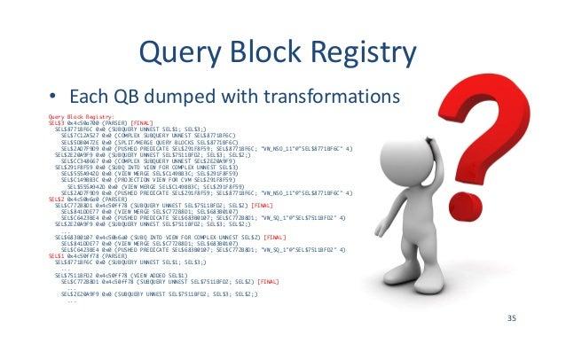 QueryBlockRegistry • EachQBdumpedwithtransformations Query Block Registry: SEL$3 0x4c50a700 (PARSER) [FINAL] SEL$877...