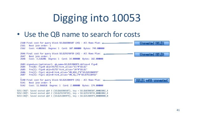Digginginto10053 • UsetheQBnametosearchforcosts 2160 Final cost for query block SEL$683B0107 (#3) - All Rows Plan...