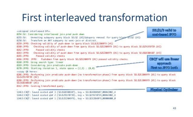 Firstinterleavedtransformation <<skipped interleaved DP>> 8254:SU: Considering interleaved join pred push down 8255:SU: ...