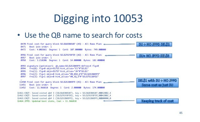 Digginginto10053 • UsetheQBnametosearchforcosts 8470 Final cost for query block SEL$683B0107 (#3) - All Rows Plan...
