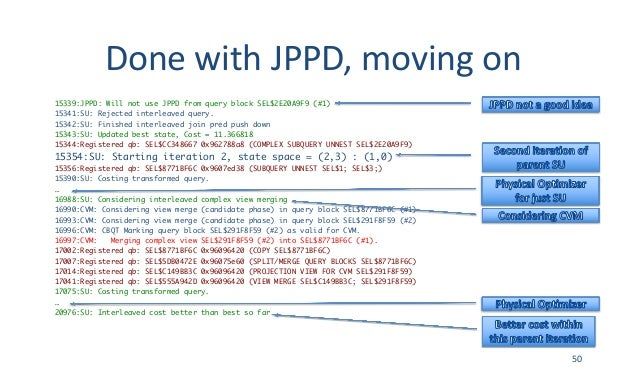 DonewithJPPD,movingon 15339:JPPD: Will not use JPPD from query block SEL$2E20A9F9 (#1) 15341:SU: Rejected interleaved ...